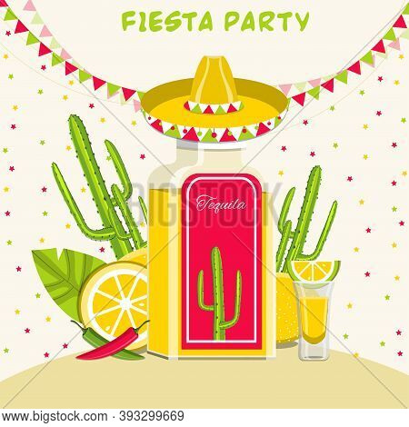 Traditional Mexican Alcoholic Drink Tequila. Mexican Fiesta Party Vector Illustration.