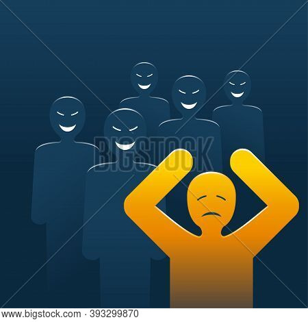 Bullying Concept - People Laughing And Aggressive Pursuiting To Abuse, Aggressively Dominate Or Inti