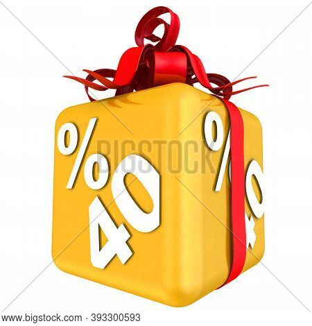 Forty Percent As A Gift. The Gold Cube With The Inscription Forty Percent Is Tied With A Scarlet Rib