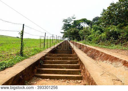 Long Steps Leading To The Top Of Banasura Sagar Dam In Western Ghats,wayanad, Kerala, Long Shot