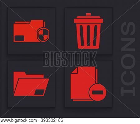 Set Document With Minus, Document Folder Protection, Trash Can And Document Folder Icon. Vector