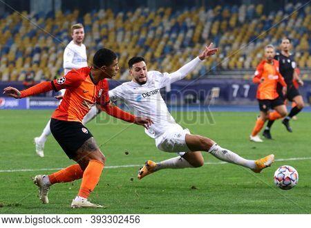 Kyiv, Ukraine - November 3, 2020: Tete Of Shakhtar Donetsk (l) Kicks A Ball During The Uefa Champion