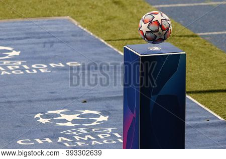 Kyiv, Ukraine - November 3, 2020: Official Uefa Champions League 2020/21 Season Match Ball On Pedest