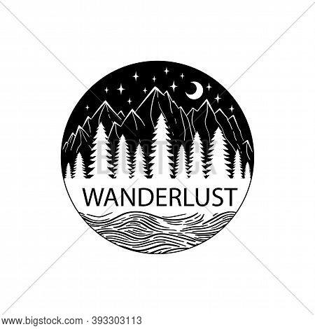 Mountain And Sea Black On White. Vector Illustration. Night Wanderlust Adventure Travel Circle Icon