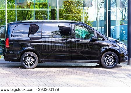 Black Mercedes-benz V Class, Side View Minivan In A Parking Lot. Russia, Saint-petersburg. 14 May 20