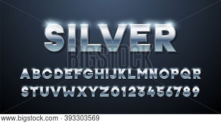 Silver Alphabet. Metallic Font 3d Effect Typographic Elements. Mettalic Stainless Steel Three Dimens