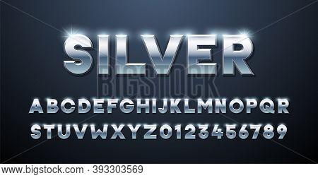 Silver Alphabet. Metallic Font 3d Effect Typographic Elements. Mettalic Stainless Steel Three Dimens