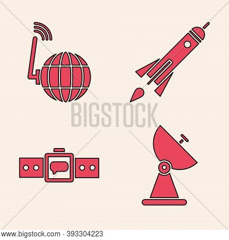 Set Radar, Social Network, Rocket Ship With Fire And Smartwatch Icon. Vector