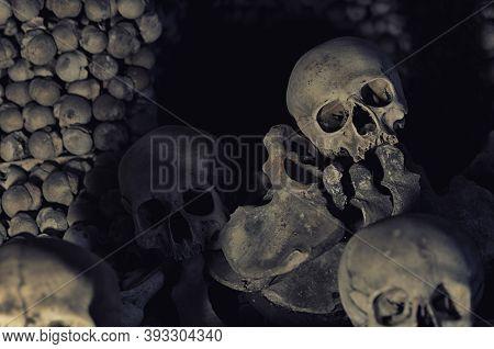 Kutna Hora, Czech Republic, May 14, 2019: Human Bones And Skulls. Pile Of Skulls. Skulls Collection.
