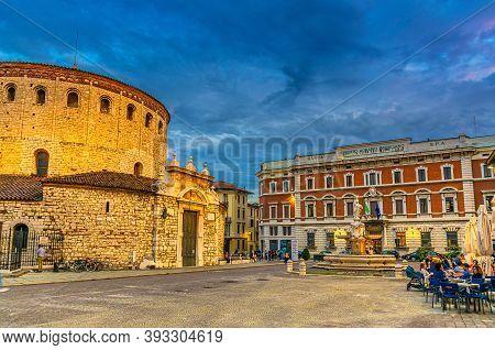 Brescia, Italy, September 10, 2019: Duomo Vecchio, Old Cathedral La Rotonda Roman Catholic Church, C