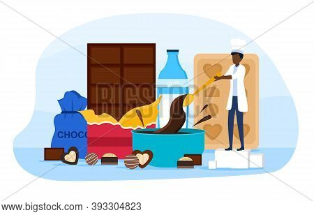 Man Confectioner Prepare Chocolate Bars And Candies. Sweet Chocolate Dessert Production. Cartoon Fla
