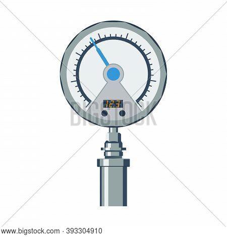 Pressure Gauge, A Sensor For Measuring Pressure. Vector Illustration In Flat Style On White Backgrou