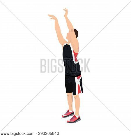 Basketball Skill And Shooting Technique. Young Man Athlete, Professional Basketball Player Shooting