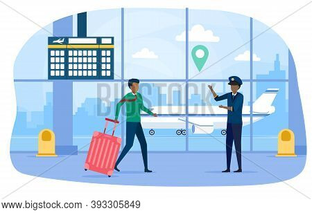 Man And Airport Employee In Airport Terminal. Air Transportation. Concept Of Air Travelling, Busines