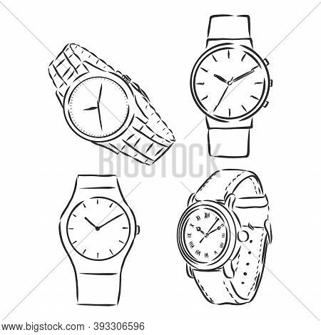 Mens Mechanical Watch Isolated On White Background. Vector Doodle Illustration Wrist Watch Vector Sk