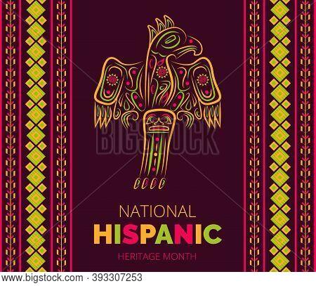 Latino American Poncho Ornament Vector For Greeting Card. Parrot, Cockatoo, Eagle, Toucan Illustrati