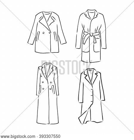 Trench Coat Icon. Fashion Garment Symbol. Technical Drawing Of Garment For Design, Logo, Advertising