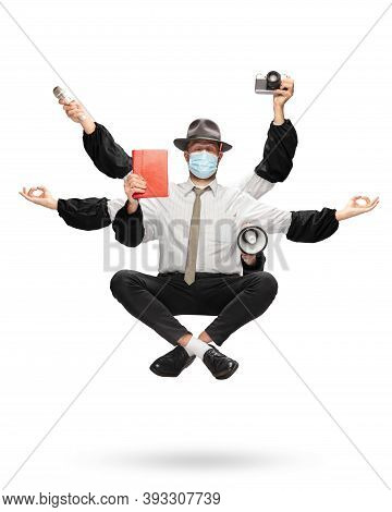 Handsome Journalist, Multi-armed Correspondent Levitating Isolated On Yellow Studio Background With