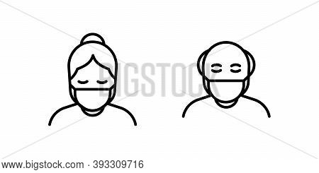 Old Man And Woman In Medical Face Protection Mask. Vector Icon Of Higher Risk Vulnerable People Wear