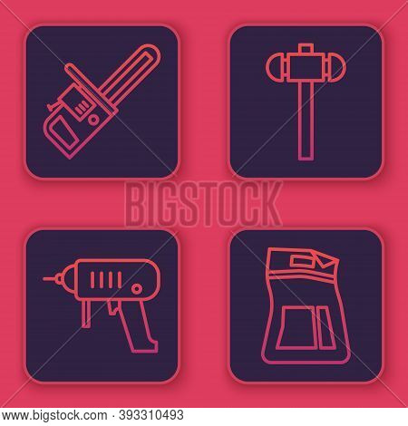 Set Line Chainsaw, Electric Drill Machine, Sledgehammer And Cement Bag. Blue Square Button. Vector