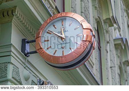 Ljubljana, Slovenia - November 4, 2019: Omega Constellation Rose Gold Clock In Ljubljana, Slovenia.
