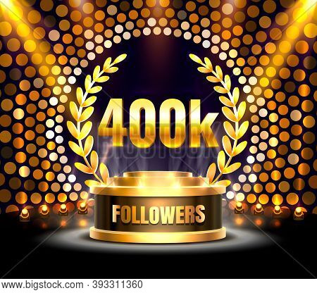 Thank You Followers Peoples, 400k Online Social Group, Happy Banner Celebrate, Vector