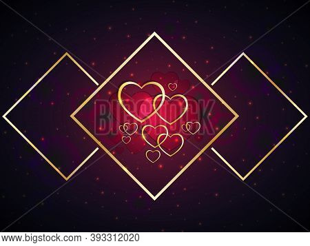Valentine's Day Festive Background. Gold And Red Hearts With Geometric Shapes In Golden Colors. Gala