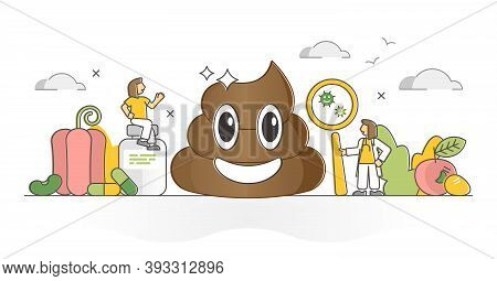 Healthy Poop Diagnosis As Medical Feces Microflora Checkup Outline Concept. Doctor Digestive System