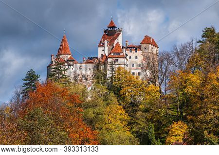 Brasov, Transylvania, Romania. The Medieval Castle Of Bran, Known For The Myth Of Dracula.