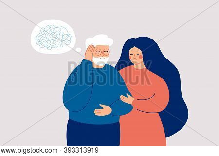 Senior Man Has Dementia Or Amnesia. Nurse Or Social Worker Supports Mature Male With A Mental Disord