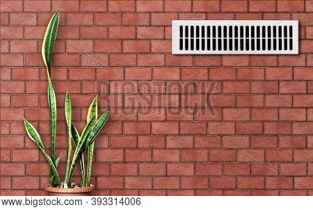 Ventilation Grille On A Red Brick Wall. Evergreen Plant (sansevieria) In A Pot Against A Stone Backg