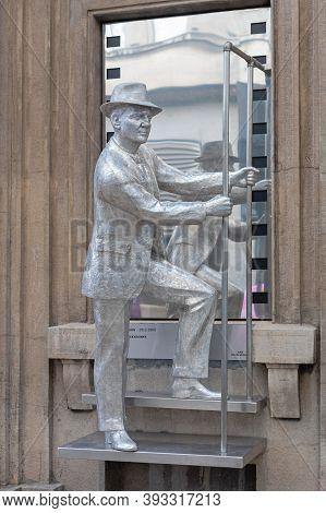 Belgrade, Serbia - December 12, 2018: Silver Statue Of Karl Mladen Sekulovic Famous Hollywood Actor
