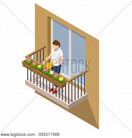 Isometric Woman Watering Flowers On Her Outdoor Balcony In Summer. Open Outdoor Balcony With Metal S