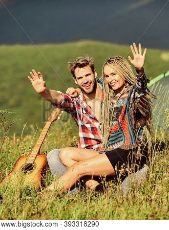 Love Concept. Camping Vacation. Camping In Mountains. Family Travel. Hiking Romance. Couple In Love