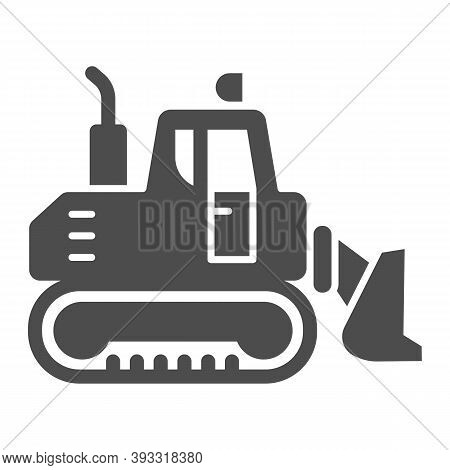 Excavator With Scoop Solid Icon, Heavy Equipment Concept, Earth Heavy Digger Sign On White Backgroun