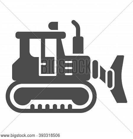 Excavator Solid Icon, Heavy Equipment Concept, Backhoe Sign On White Background, Excavator With Scoo