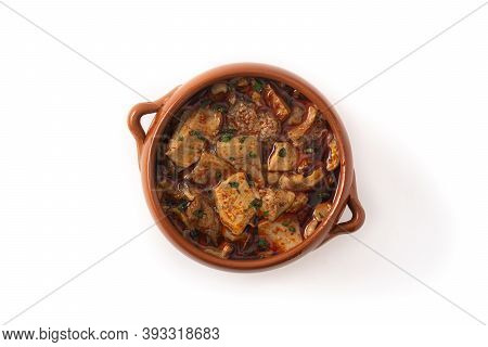 Traditional Mondongo Or El Menudo Soup Isolated On White Background. Top View