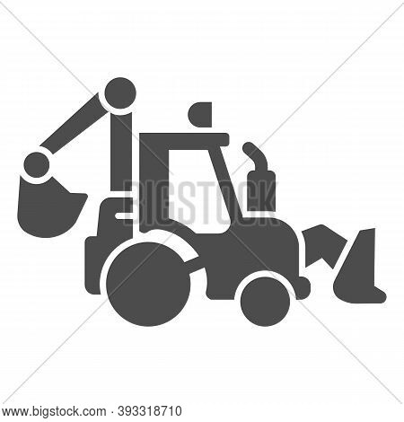 Tractor With Bucket Solid Icon, Heavy Equipment Concept, Backhoe Sign On White Background, Excavatin