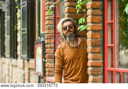 Smoking Outdoors. Fashionable Mature Man With Cigarette. Cool Guy Relaxing. Went On Smoke Break. Hip