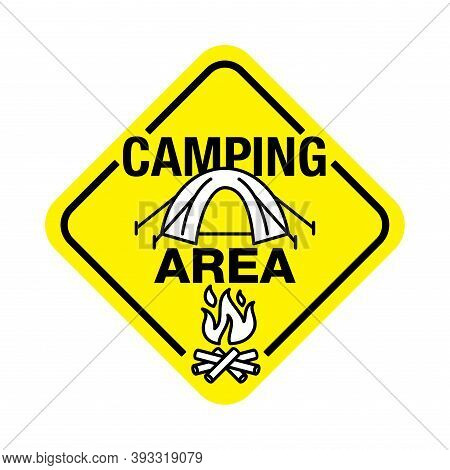 Camping Area Zone Road Sign - Rhombic Signpost With Camp Icon With Camp And Campfire Icons - Trackin