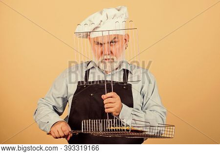 Lunch Time. Cook Men With Beard. Cooking Utensils For Barbecue. He Prefer Grill Food. Picnic And Bar