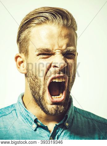 Screaming Man. Emotions. Portrait Of Screaming Man. Angry. Scream.