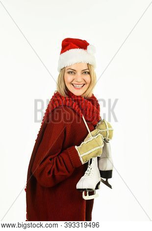 Winter Leisure. Woman With Ice Skates. Winter Time. Winter Vacation. Holidays. Happy Woman With Ice