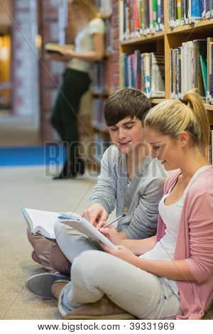 Students studying together sitting on floor of college library