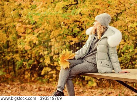 Feel Practicality And Comfort. Woman Enjoy Autumn Season In Park. Warm Knitwear. Clothes For Rest. G