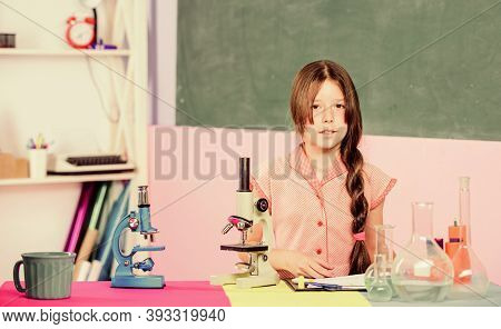 Small Girl With Microscope. Scientific Experiment. Fascinating Lesson. Explore Microbiology. Study B