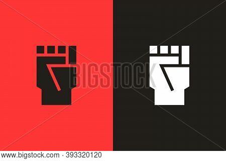 Closed Fist Flat Glyph Icon. Vector Illustration Symbolizing Protests, Riots, Activism, Black Lives
