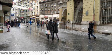 Sarajevo, Bosnia And Herzegovina, March 8, 2020. People On The Streets Of Sarajevo. Tourists And Loc