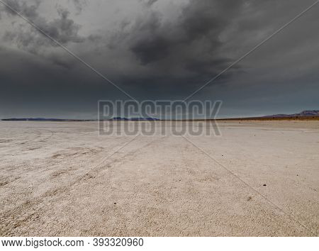 El Mirage Mojave desert dry lake bed in Southern California with stormy sky.