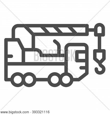 Heavy Duty Truck Line Icon, Heavy Equipment Concept, Crane Truck Sign On White Background, Equipment